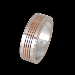 Мужской перстень из белого и розового золота - модель Rose Rows 2