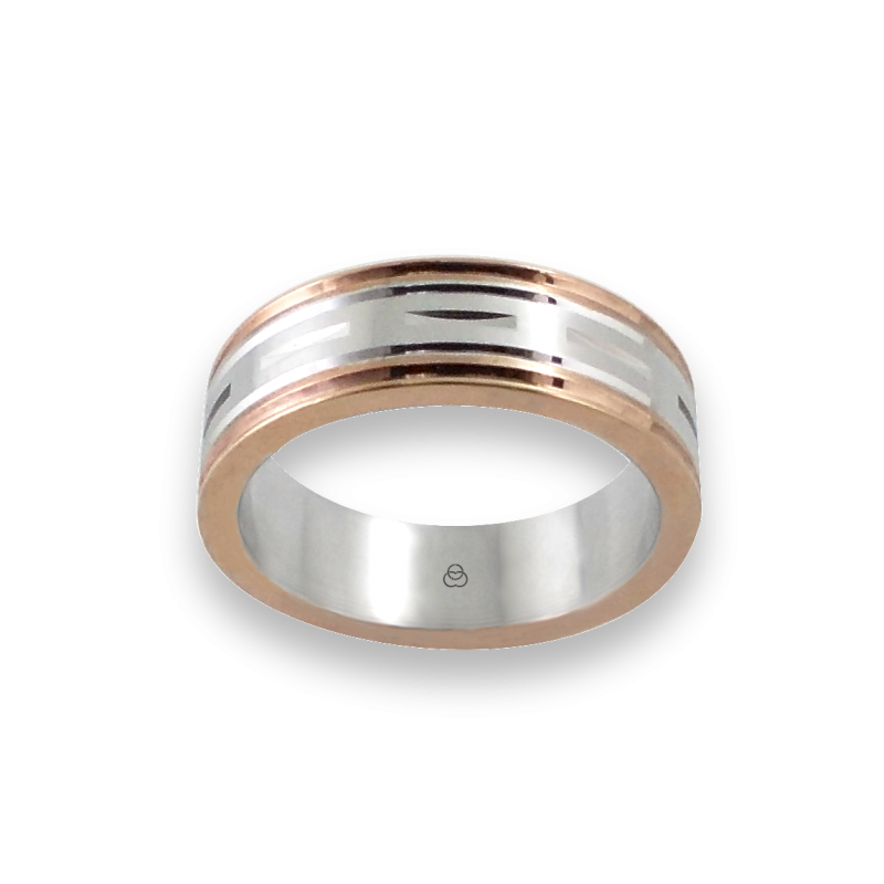 Men ring in rose and white gold - model Blend 2