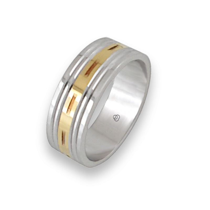 Men ring in white and yellow gold - model Blend 1