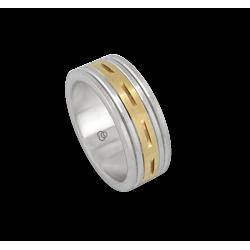 Мужской перстень из белого и желтого золота- модели Blend 4