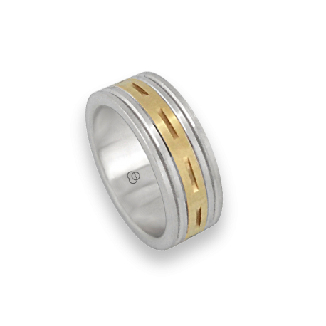 Men ring in white and yellow gold - model Blend 4