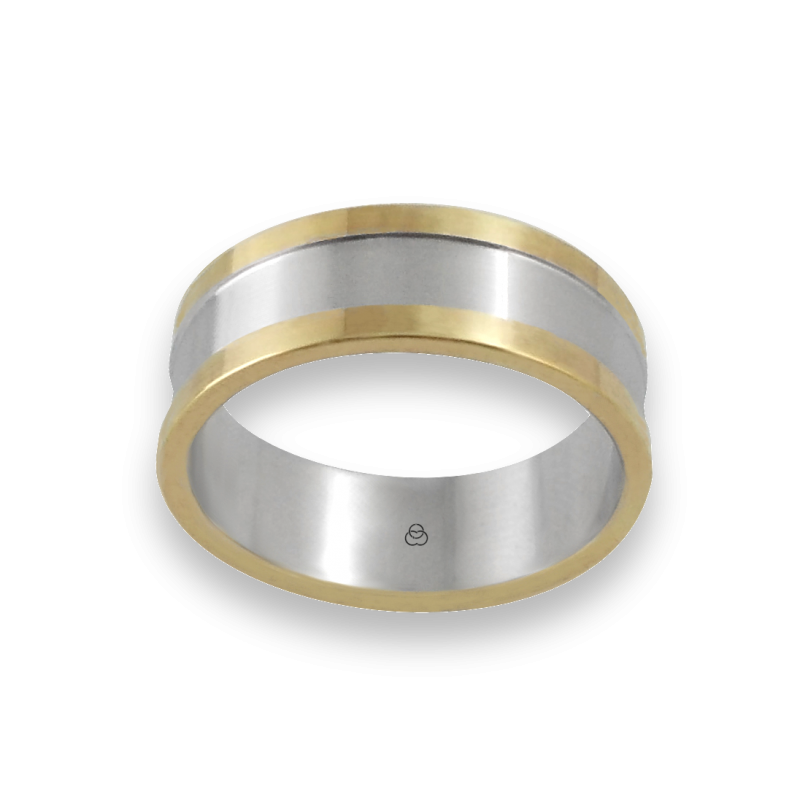 Men ring in white and yellow gold - model Yellow Round