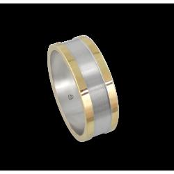 Мужской перстень из белого золота и желтого - модель Yellow Round