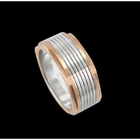 Мужской перстень из белого и розового золота - модель Rose Hexagonal