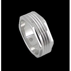 Мужской перстень из белого золота - модель White Hexagonal