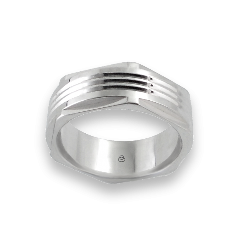 Men ring in white gold - model White Hexagonal