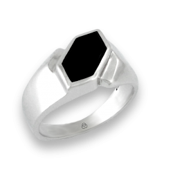 Men ring in white gold with black onyx - model Onix2