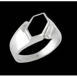 Мужской перстень из белого золота с черным Ониксом - модель Onyx2