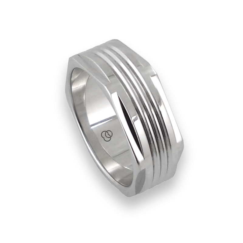 Men ring in white gold - model White Hexagonal 1