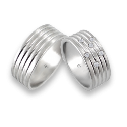 men wedding rings in white gold with white diamond -model Narrow Rows