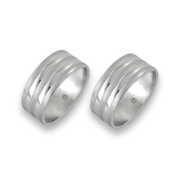men wedding rings in white gold - model Large Rows