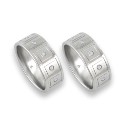 men wedding rings in white gold with white diamond -model Squares