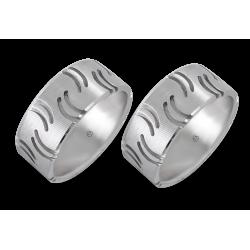 coppia anelli uomo in oro bianco - modello Quotation Marks