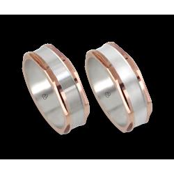 Coppia anelli uomo in oro rosa e bianco - model Hexagonal 1