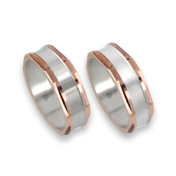 men wedding rings in rose and white gold model Hexagonal 1