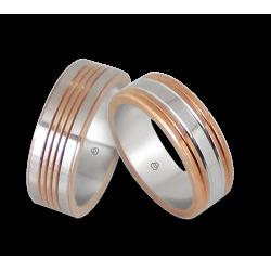 Men wedding rings in rose and white gold model Rose Rows