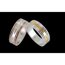 Men wedding rings in white - rose - yellow gold model Blend