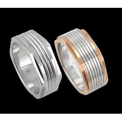 Men rings in white and rose gold - Model Hexagonal 5