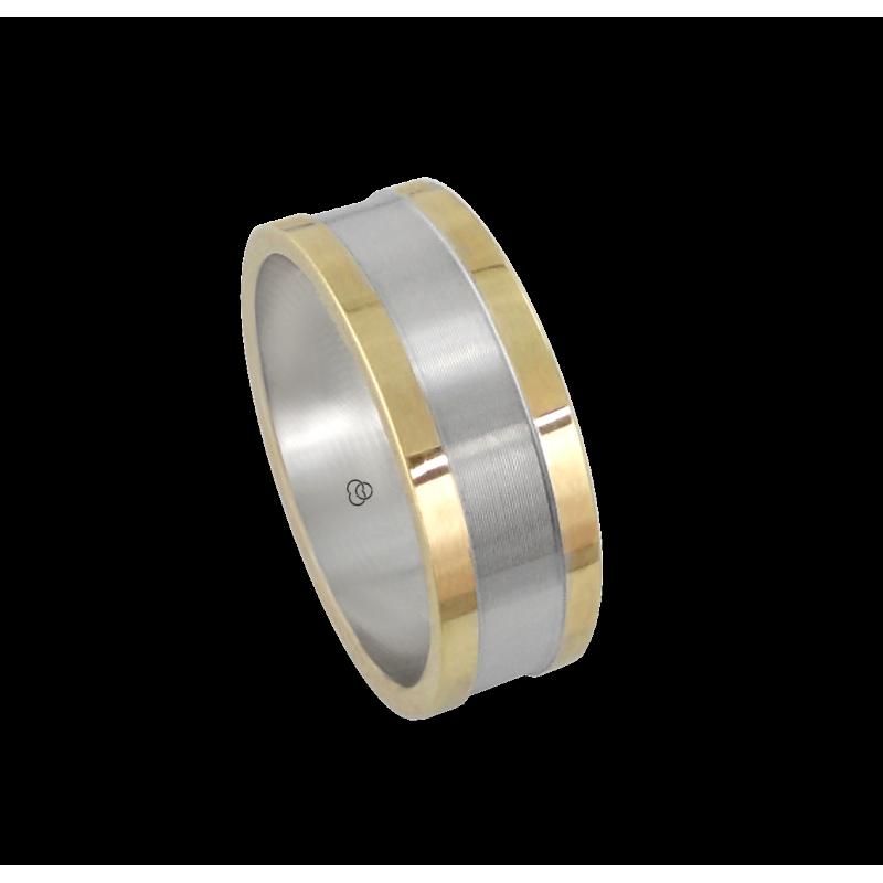 Мужской перстень из белого и желтого золота - модель Yellow Round 1