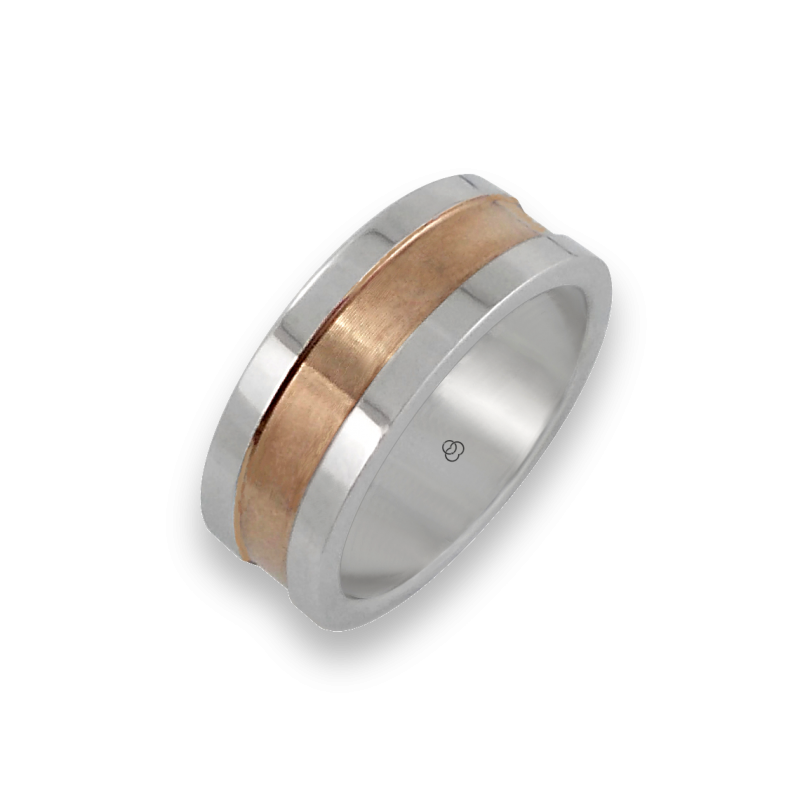 Men ring in white and rose gold - model White Round 1