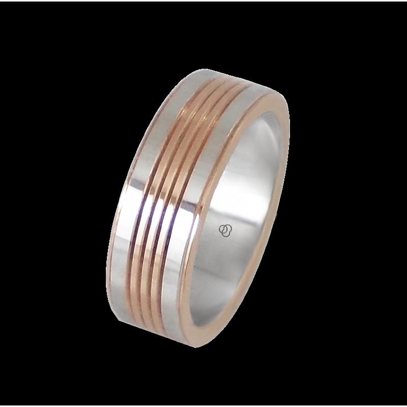 Мужской перстень из белого и розового золота - модель Rose Rows 22