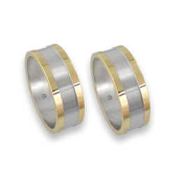 men rings in yellow and white gold - Model Yellow Round 1