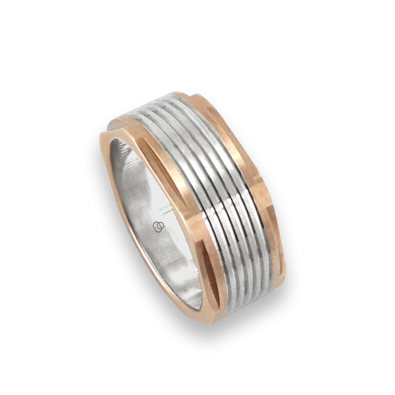Men ring in rose and white gold - model Rose Hexagonal 1