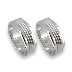 Пара колец для мужчин из белого золота шестигранная - model White Hexagonal 11