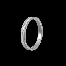Anello unisex in oro bianco 18 kt a righe con 1 diamante - modello 0331