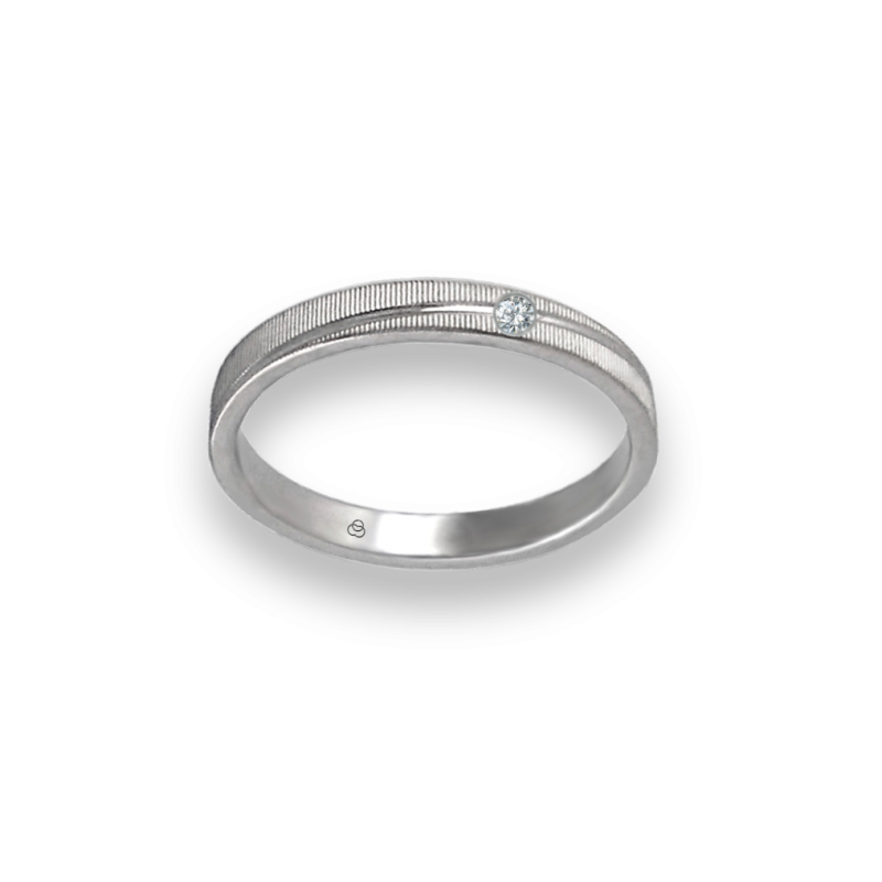 Unisex ring in white gold 18k with diamond model 0331