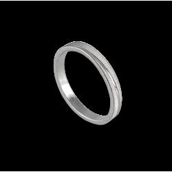 Anello unisex in oro bianco 18 kt con righe orizzontali modello 0331ew