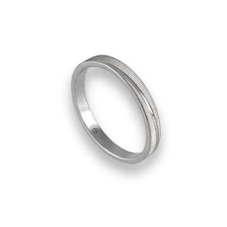 Unisex ring in white gold 18k horizontal lines model 0331ew