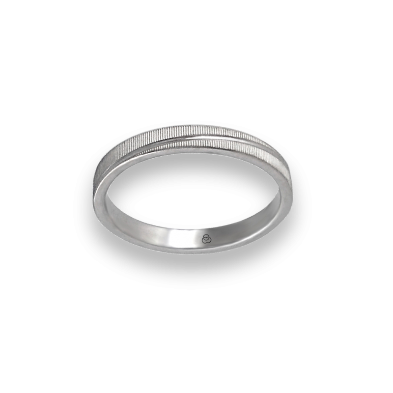Unisex ring in white gold 18k horizontal lines model 0331ew