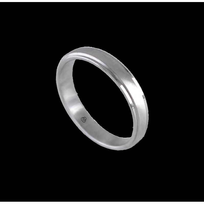 Anello unisex in oro bianco 18 kt con inserto centrale satinato modello 53701ew