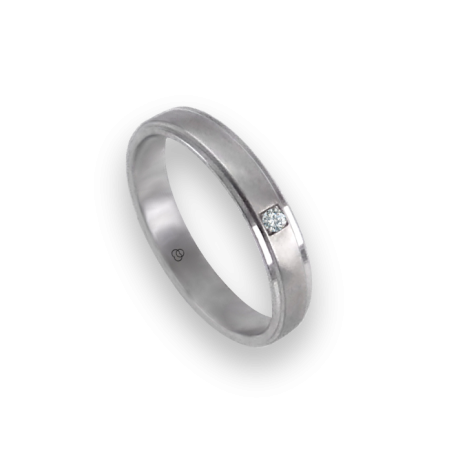 Unisex ring in white gold 18k with diamond and satin insert model 53701dw