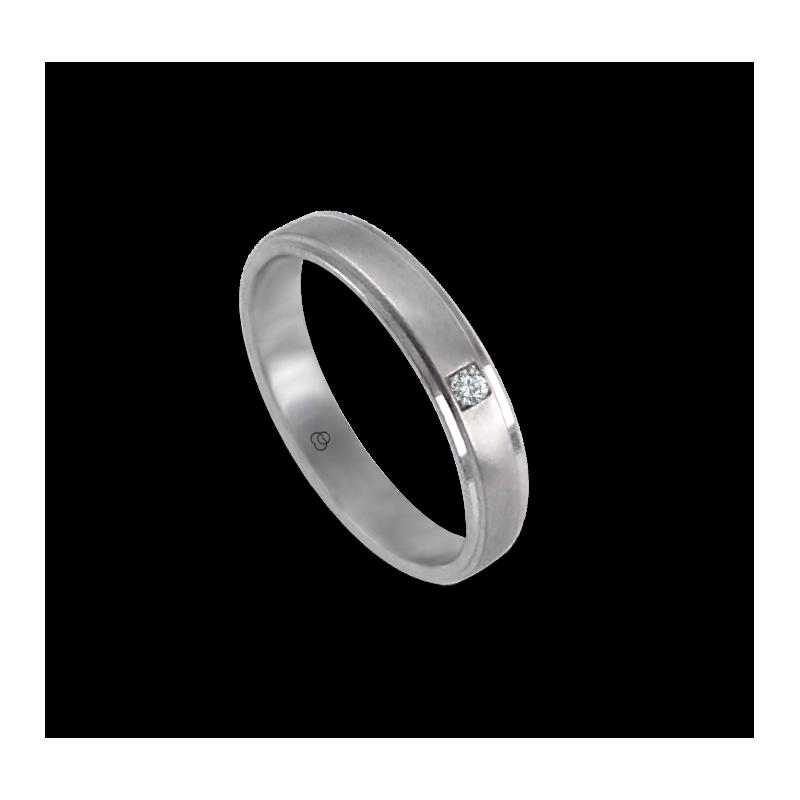 Кольцо унисекс из белого золота 18 карат с бриллиантом и атласной вставкой модель 53701dw