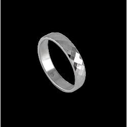 Unisex ring in white gold 18k wih rhombus faceted design model 537622ew