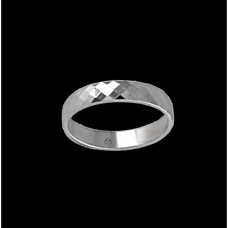 Anello unisex in oro bianco 18 kt con rombi sfaccettati modello 537622ew