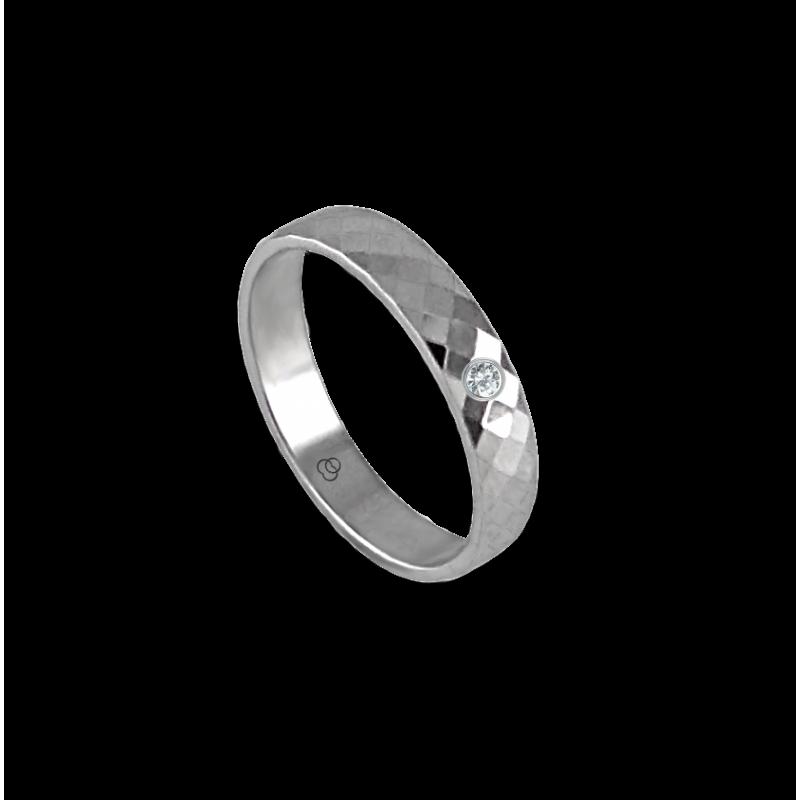 Anello unisex in oro bianco 18 kt con rombi sfaccettati e diamante modello 537622dw