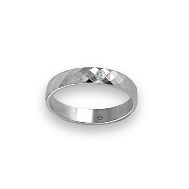 Unisex ring in white gold 18k with diamond and rhombus fateted design model 537622dw
