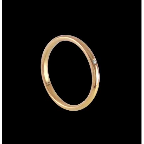 Anello/fede nuziale in oro giallo 18 kt con diamante modello ag0258ldw