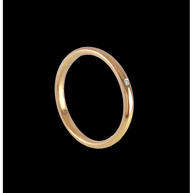 Кольцо/обручальное кольцо из 18-каратного желтого золота с бриллиантом модель ag0258ldw
