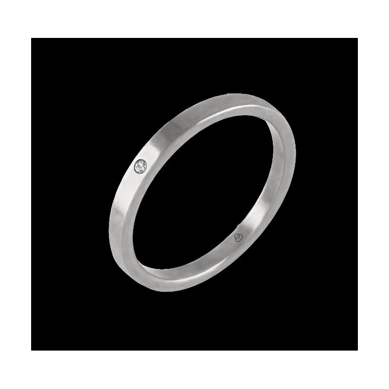 Anello in oro bianco 18 kt con diamante modello ab1268ldw