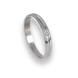 Unisex ring in white gold 18k extra polished with diamond model ab2319ldw