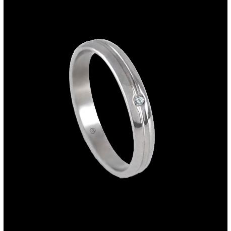 Anello unisex in oro bianco 18 kt extra lucido con diamante modello ab2319ldw