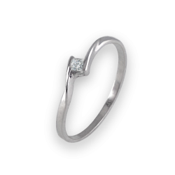 Solitaire ring in white gold 18k with square diamond model Smart1