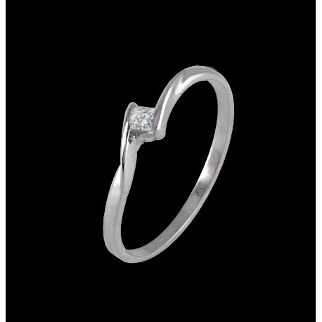 Кольцо из белого золота 18 карат с бриллиантом квадрат 0.06 ct модель Smart1