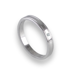 Unisex ring in white gold 18k extra polished with diamond model ab0349ldw