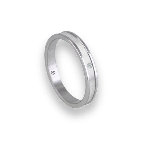 Unisex ring in white gold 18k polished and satin with diamond model bb0359ldw