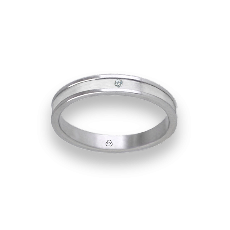 Anello unisex in oro bianco 18 kt lucido e satinato con diamante modello bb0359ldw